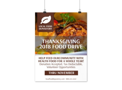 Thanksgiving Food Drive Poster Template preview