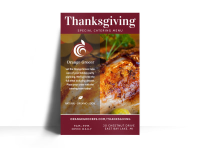 Thanksgiving Catering Menu Poster Template preview
