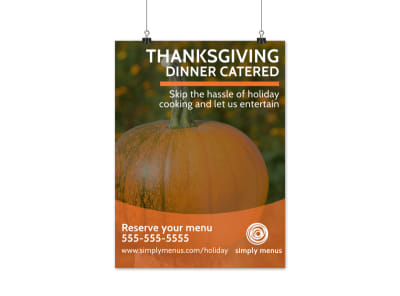 Thanksgiving Catered Dinner Poster Template preview