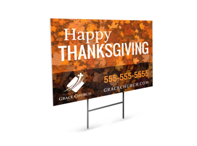 Happy Thanksgiving Church Yard Sign Template preview