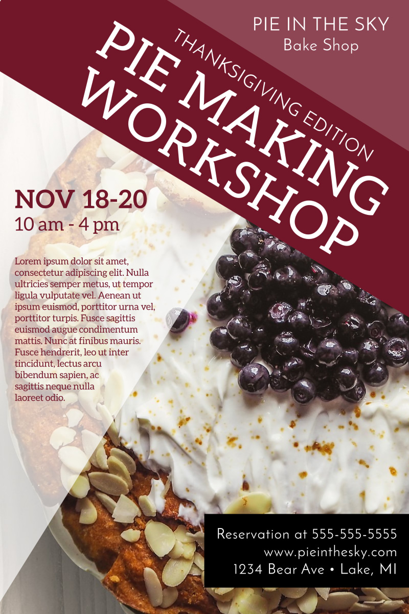Thanksgiving Pie Workshop Poster Template Preview 2