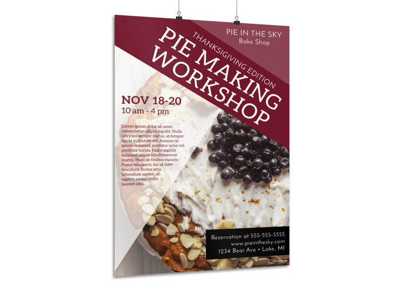 Thanksgiving Pie Workshop Poster Template Preview 1