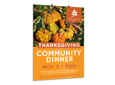 Thanksgiving Community Dinner Poster Template preview