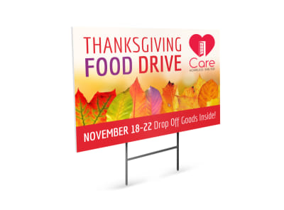 Thanksgiving Food Drive Yard Sign Template