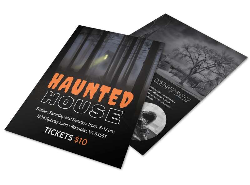 Halloween Haunted House Flyer Template