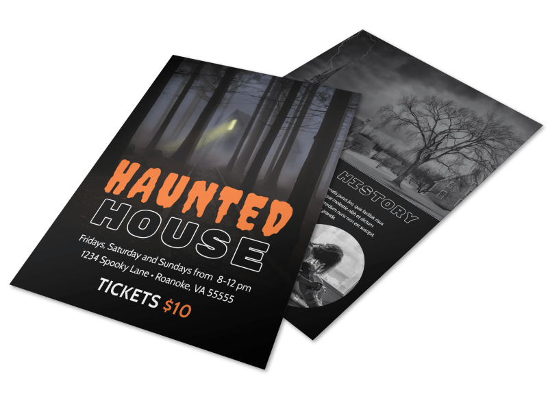Halloween Haunted House Flyer Template