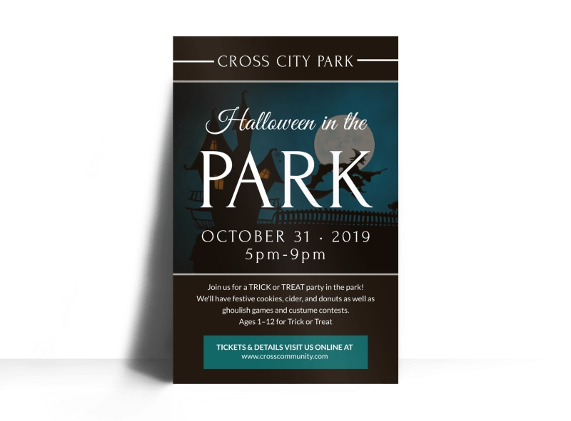 Halloween In The Park Poster Template