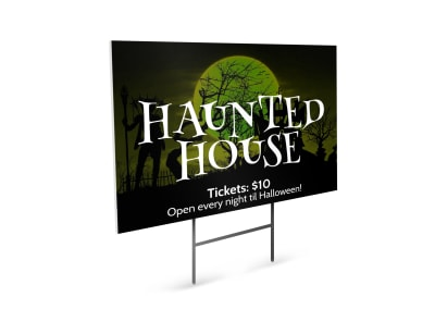 Halloween Haunted House Yard Sign Template preview