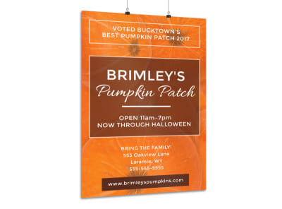 Halloween Pumpkin Patch Poster Template preview