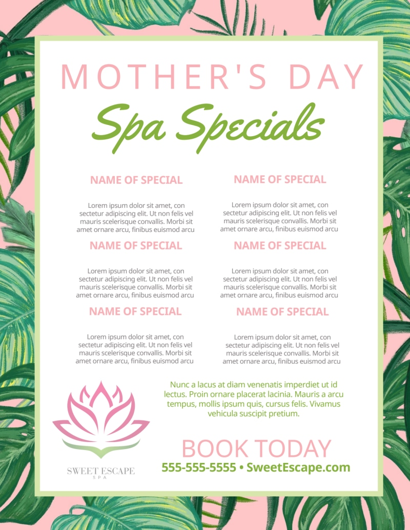 Mother's Day Spa Special Flyer Template Preview 2