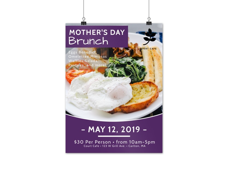Purple Mothers Day Brunch Poster Template