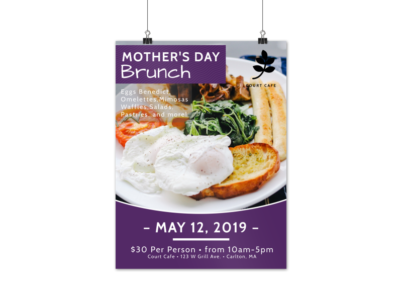 Purple Mother's Day Brunch Poster Template Preview 1