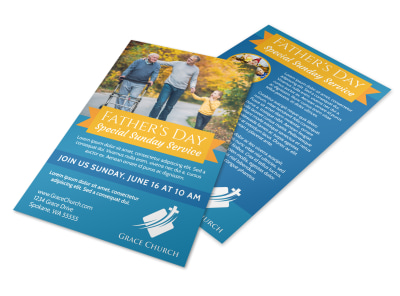 Father's Day Church Service Flyer Template preview