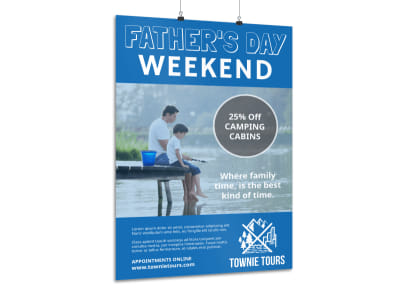 Blue Father's Day Poster Template