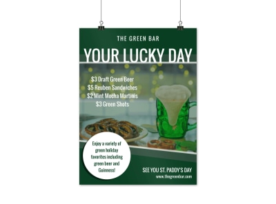 St Patricks Day Bar Poster Template preview