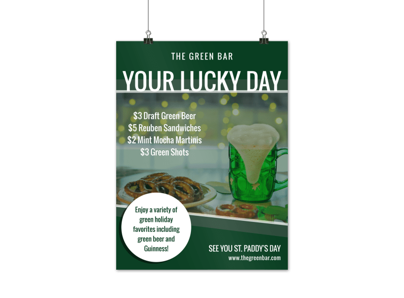 St. Patrick's Day Bar Poster Template Preview 1