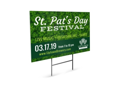 Saint Patricks Day Festival Yard Sign Template