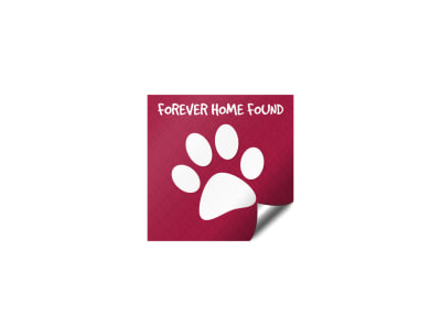 Pet Adoption Forever Home Sticker Template