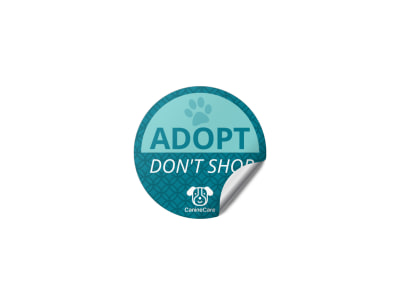 Teal Pet Adoption Sticker Template