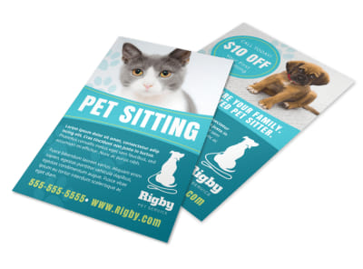 Simple Pet Sitting Flyer Template preview