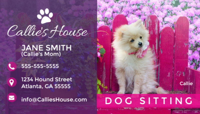 Pet Sitting Business Card Template Preview 2
