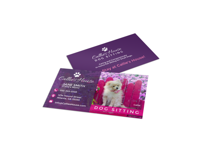 Pet Sitting Business Card Template Preview 1