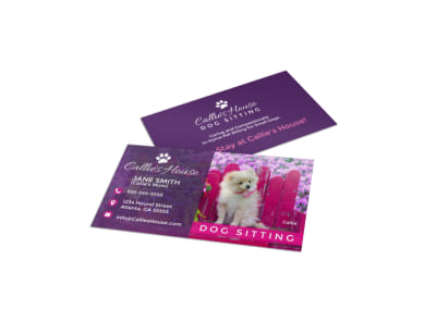 Pet Sitting Business Card Template preview