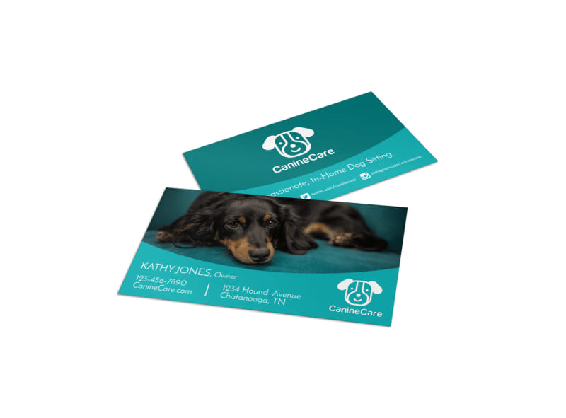 Teal Pet Sitting Business Card Template