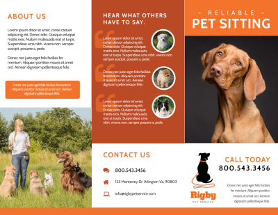 Awesome Pet Sitting Tri-Fold Brochure Template Preview 1
