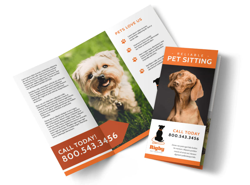 Awesome Pet Sitting Tri-Fold Brochure Template Preview 4