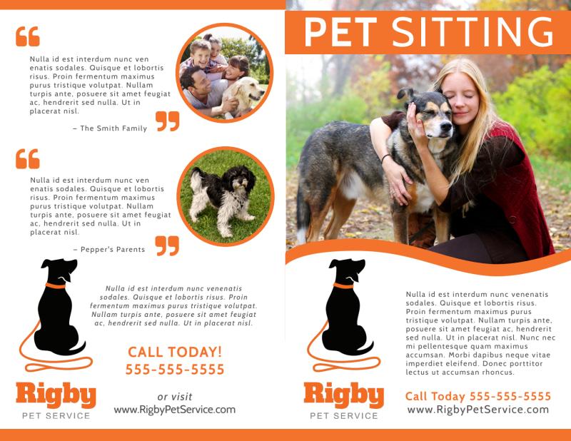 Happy Pet Sitting Bi-Fold Brochure Template Preview 2