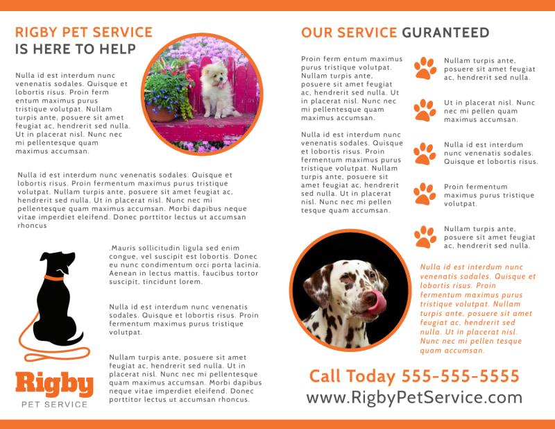 Happy Pet Sitting Bi-Fold Brochure Template Preview 3