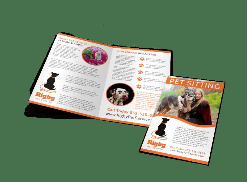 Happy Pet Sitting Bi-Fold Brochure Template Preview 1