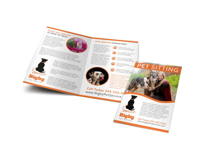 Happy Pet Sitting Bi-Fold Brochure Template