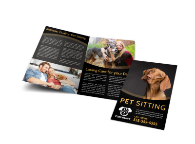 Quality Pet Sitting Bi-Fold Brochure Template
