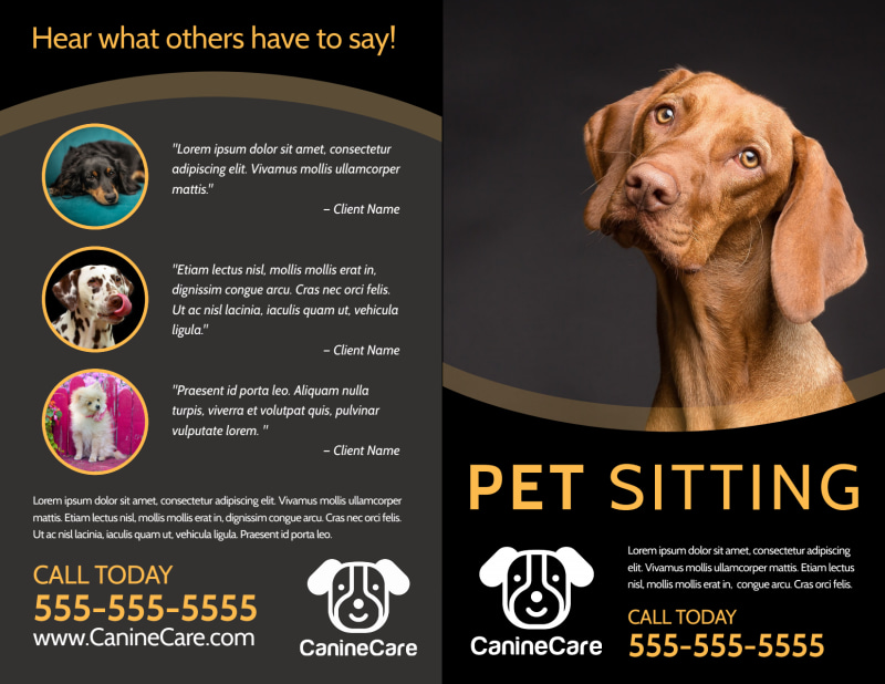 Quality Pet Sitting Bi-Fold Brochure Template Preview 2
