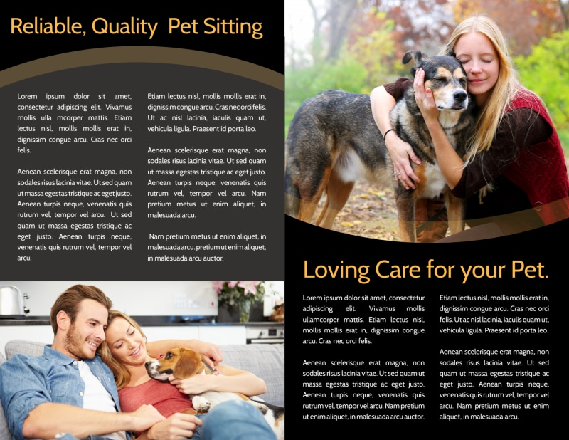 Quality Pet Sitting Bi-Fold Brochure Template Preview 3