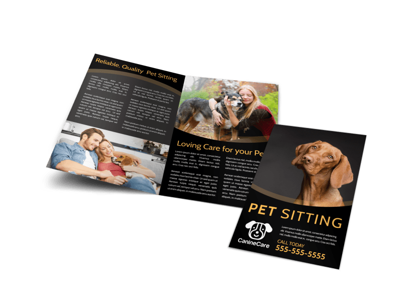 Quality Pet Sitting Bi-Fold Brochure Template Preview 1