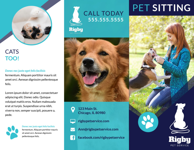 Blue Pet Sitting Tri-Fold Brochure Template Preview 2
