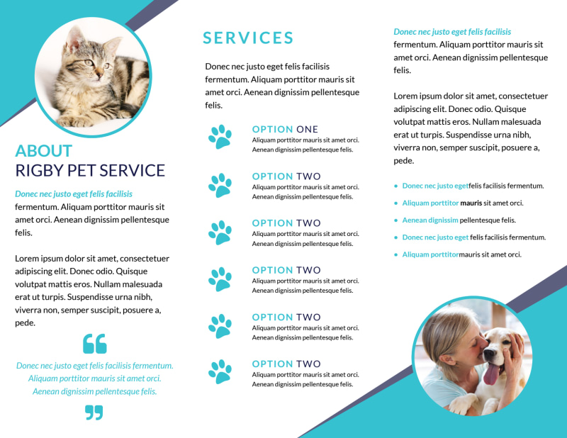 Blue Pet Sitting Tri-Fold Brochure Template Preview 3