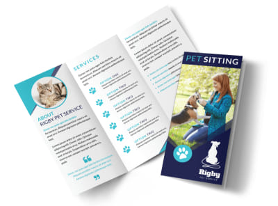Blue Pet Sitting Tri-Fold Brochure Template