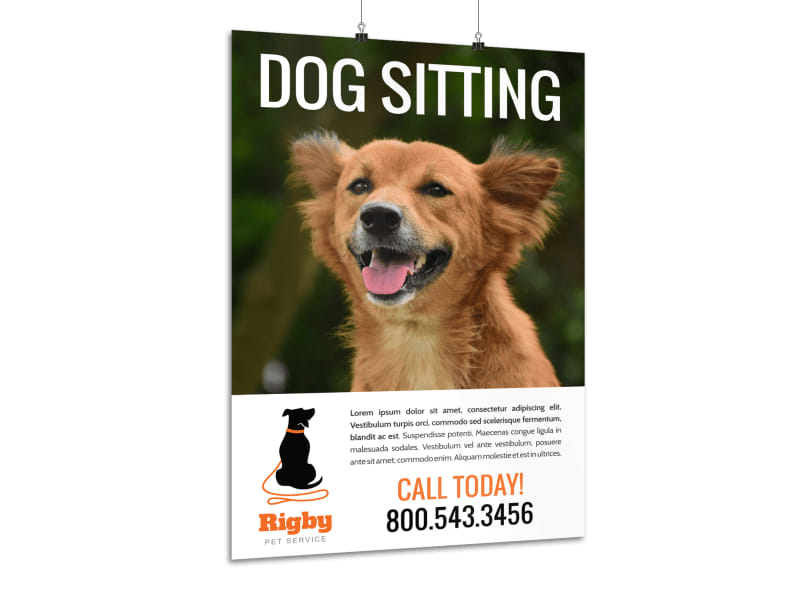 Dog Sitting Contact Poster Template