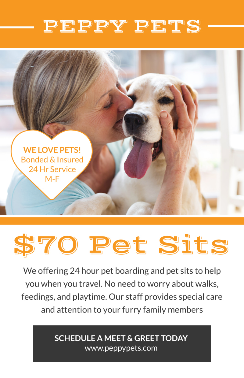 Pet Sitting Price Poster Template Preview 2