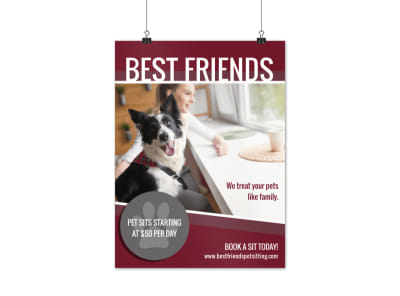 Pet Sitting Outreach Poster Template preview