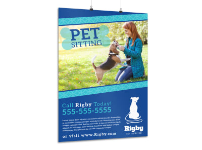 Simple Pet Sitting Poster Template