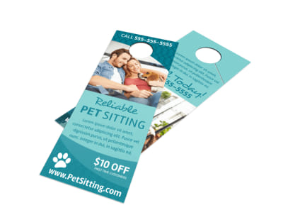 Promo Pet Sitting Door Hanger Template preview