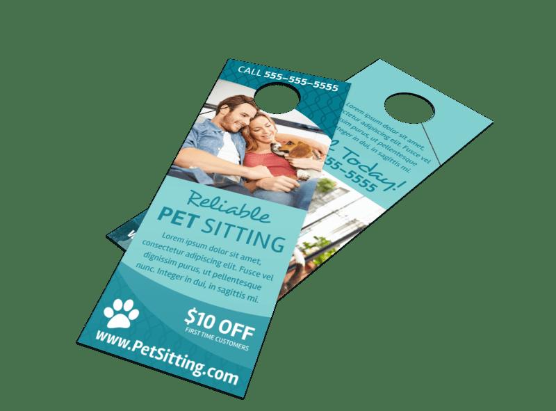 Promo Pet Sitting Door Hanger Template Preview 1