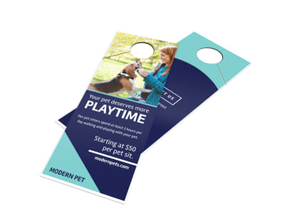 Playtime Pet Sitting Door Hanger Template preview