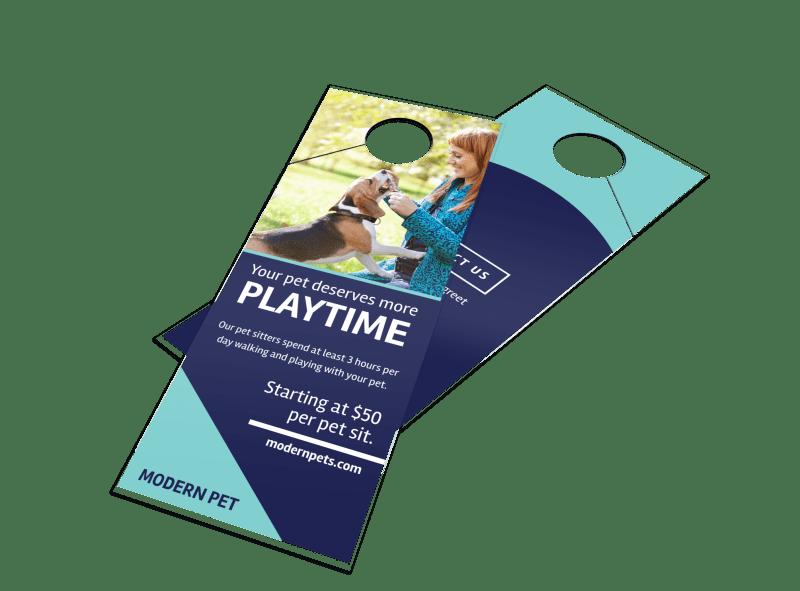 Playtime Pet Sitting Door Hanger Template Preview 1