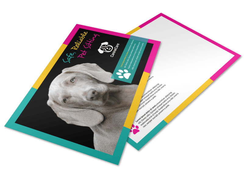 Reliable Pet Sitting Postcard Template Preview 4